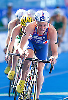 20 JUL 2013 - HAMBURG, GER - Alistair Brownlee (GBR) of Great Britain leads the front pack during the bike at the elite men's  ITU 2013 World Triathlon Series round in the Altstadt Quarter, Hamburg, Germany (PHOTO COPYRIGHT © 2013 NIGEL FARROW, ALL RIGHTS RESERVED)