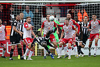 Ahkeem Rose of Grimsby Town with an overhead attempt on goal during Stevenage vs Grimsby Town, Sky Bet EFL League 2 Football at the Lamex Stadium on 12th October 2019