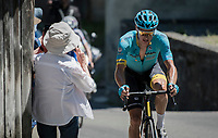 Jakob Fuglsang (DEN/Astana) drops Daniel Martin in the final kilometers and looks on his way to winning his 2nd stage (and maybe the overall) in this Dauphiné<br /> <br /> 69th Critérium du Dauphiné 2017<br /> Stage 8: Albertville > Plateau de Solaison (115km)