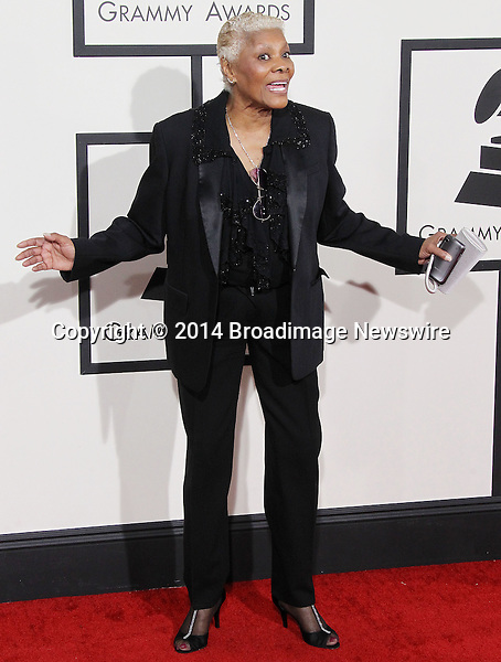 Pictured: Dionne Warwick<br /> Mandatory Credit &copy; Frederick Taylor/Broadimage<br /> 56th Annual Grammy Awards - Red Carpet<br /> <br /> 1/26/14, Los Angeles, California, United States of America<br /> <br /> Broadimage Newswire<br /> Los Angeles 1+  (310) 301-1027<br /> New York      1+  (646) 827-9134<br /> sales@broadimage.com<br /> http://www.broadimage.com