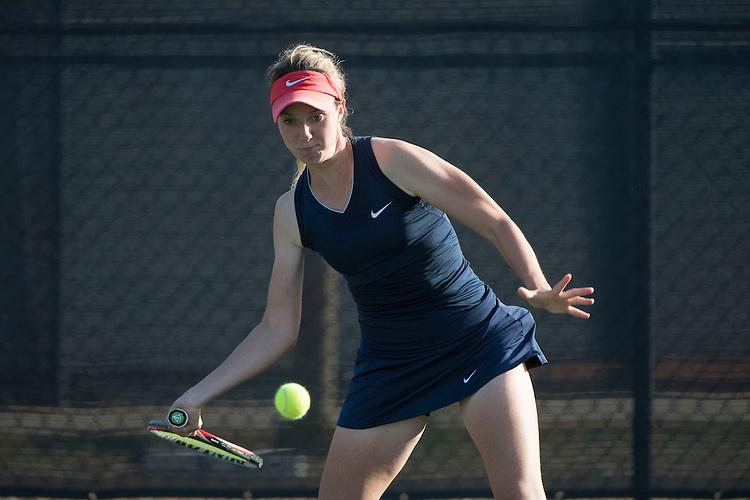 April 23, 2014; San Diego, CA, USA; Gonzaga Bulldogs player Isabell Klingert during the WCC Tennis Championships at Barnes Tennis Center.