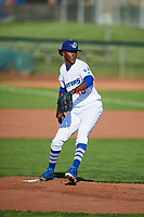 Ogden Raptors starting pitcher Adalberto Pena (40) delivers a pitch to the plate against the Orem Owlz in Pioneer League action at Lindquist Field on June 21, 2017 in Ogden, Utah. The Owlz defeated the Raptors 16-5. This was Opening Night at home for the Raptors.  (Stephen Smith/Four Seam Images)
