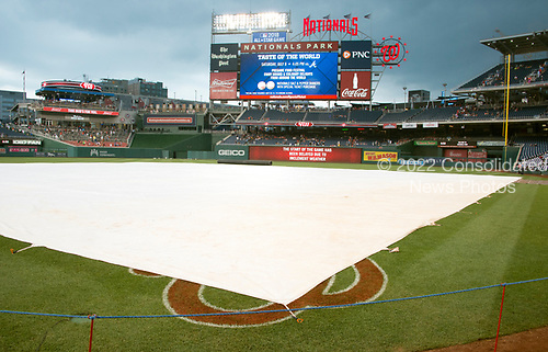 Rain has delayed the start of the New York Mets against the Washington Nationals game at Nationals Park in Washington, D.C. on Wednesday, July 5, 2017.<br /> Credit: Ron Sachs / CNP<br /> (RESTRICTION: NO New York or New Jersey Newspapers or newspapers within a 75 mile radius of New York City)