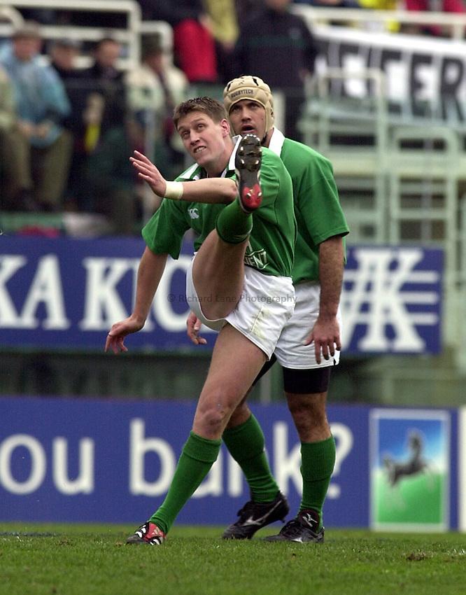 Photo:Ken Brown .3.2.2001 Six Nations Championship.Italy v Ireland at tha Flaminio Stadium Rome.Ronan O'Gara slots a penalty