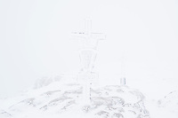 Snow whiteout on summit of Schneibstein (2276 m),  Hagengebirge, Berchtesgaden Alps, Germany - Austria