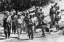 Iraq 1974 <br />  The resumption of hostilities, General Barzani, first rank,in the middle and members of his cabinet, right, Mahmoud Osman and left, Ali Abdullah , near Nawpurdan<br /> Irak 1974 <br /> La reprise de la lutte arm&eacute;e, premier rang,au centre le General Barzani avec a droite Dr.Mahmoud Osman et a gauche, Ali QAbdullah, membres de son etat-major