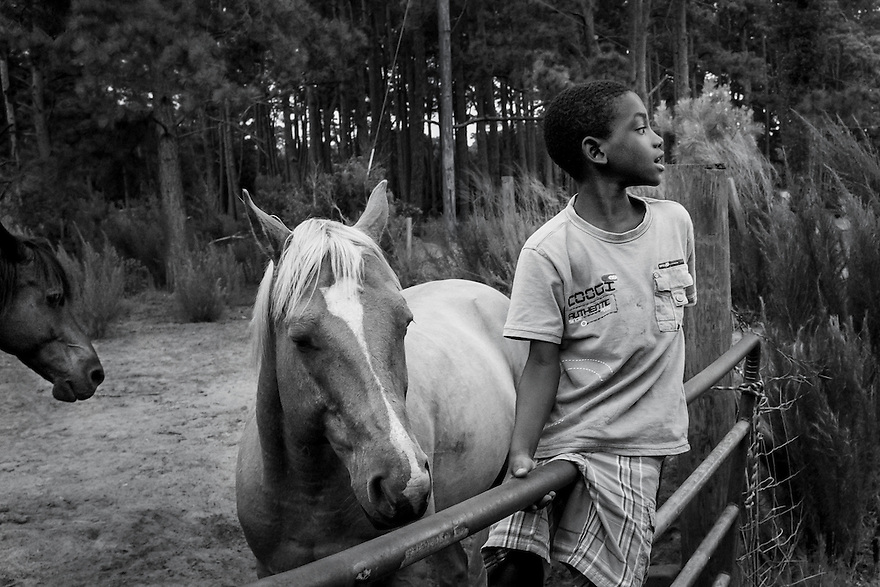 Jamarcus Wilson hangs out with his neighbor's horses in the Hog Hammock community on Sapelo Island. When they are old enough, most of the young people in Hog Hammock leave for the mainland and more opportunity.