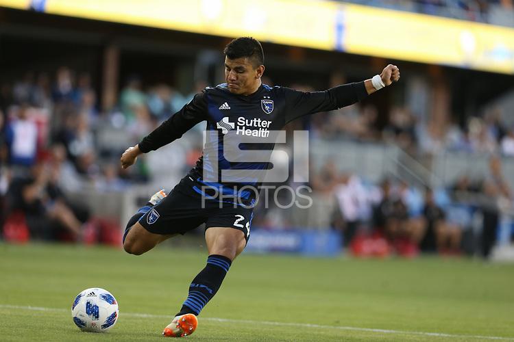 San Jose, CA - Saturday July 28, 2018: Nick Lima during a Major League Soccer (MLS) match between the San Jose Earthquakes and Real Salt Lake at Avaya Stadium.