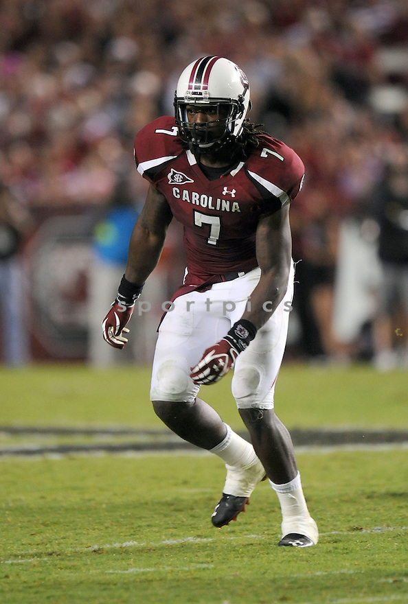 JADEVEON CLOWNEY, of the South Carolina Gamecocks, in action during South Carolina's game against Vanderbilt on September 24, 2011 at Williams-Brice Stadium in Columbia, SC. South Carolina beat Vanderbilt 21-3.