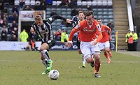Jack Marriott of Luton Town gets away from his marker during the Sky Bet League 2 match between Plymouth Argyle and Luton Town at Home Park, Plymouth, England on 19 March 2016. Photo by Liam Smith.