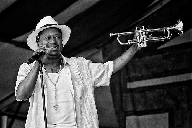 Kermit Ruffins performing on the Congo Square Stage at the 2011 New Orleans Jazz & Heritage Festival at the Fair Grounds Race Course in New Orleans, LA. USA.