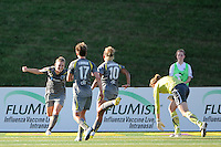 Amy Rodriguez (8) of the Philadelphia Independence celebrates scoring with Joanna Lohman (17) and Lianne Sanderson (10) during a Women's Professional Soccer (WPS) match against Sky Blue FC at John A. Farrell Stadium in West Chester, PA, on June 6, 2010.
