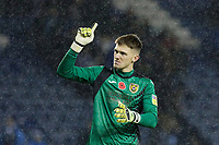 Freddie Woodman of Swansea City thanks away supporters after the Sky Bet Championship match between Sheffield Wednesday and Swansea City at Hillsborough Stadium, Sheffield, England, UK. Saturday 09 November 2019