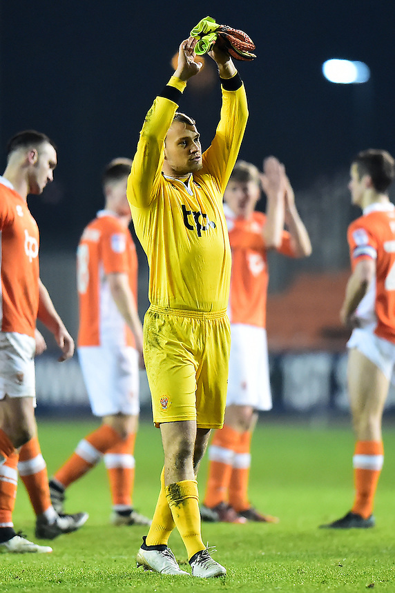 Blackpool's Sam Slocombe applauds the fans <br /> <br /> Photographer Richard Martin-Roberts/CameraSport<br /> <br /> The EFL Sky Bet League Two - Blackpool v Newport County - Saturday 26th November 2016 - Bloomfield Road - Blackpool<br /> <br /> World Copyright &copy; 2016 CameraSport. All rights reserved. 43 Linden Ave. Countesthorpe. Leicester. England. LE8 5PG - Tel: +44 (0) 116 277 4147 - admin@camerasport.com - www.camerasport.com