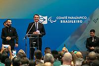 SÃO PAULO, SP, 19.06.2019: CERIMÔNIA DE ASSINATURA DE TERMO DE COMPROMISSO -SP- O Presidente da República Jair Bolsonaro, Michelle Bolsonaro, o Governador do Estado de São Paulo João Doria e Bia Doria,  participa da Cerimônia de assinatura de Termo de Compromisso entre a CAIXA Econômica Federal e o Comitê Paralímpico. No centro Paralímpico Brasileiro, em São Paulo, SP, nesta quarta-feira (19). (foto: Marivaldo Oliveira/Código19)