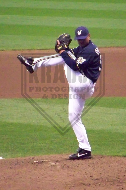 MILWAUKEE - APRIL 2010: Trevor Hoffman of the Milwaukee Brewers in action during a game on April 7, 2010 at Miller Park in Milwaukee, Wisconsin. (Photo by Brad Krause)