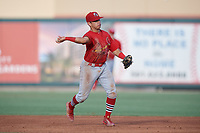 Palm Beach Cardinals second baseman Irving Lopez (15) throws to first base during a game against the Jupiter Hammerheads on August 4, 2018 at Roger Dean Chevrolet Stadium in Jupiter, Florida.  Palm Beach defeated Jupiter 7-6.  (Mike Janes/Four Seam Images)