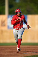 Williamsport Crosscutters first baseman Luis Encarnacion (30) running the bases during a game against the Auburn Doubledays on June 25, 2016 at Falcon Park in Auburn, New York.  Auburn defeated Williamsport 5-4.  (Mike Janes/Four Seam Images)