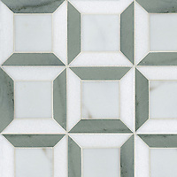Lauren, a stone mosaic, shown in Calacatta Tia, Kay's Green, and Thassos, is part of the Ann Sacks Beau Monde collection sold exclusively at www.annsacks.com