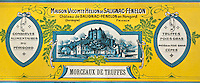 Europe/France/Aquitaine/24/Dordogne/Sorges: Musée de la Truffe, Sorges Etiquettes  de boites de conserve de truffe _ Reproduction - Collection:  Musée de la Truffe, Sorges