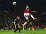 Jesse Lingard of Manchester United heads at goal during the UEFA Europa League match at Old Trafford. Photo credit should read: Philip Oldham/Sportimage
