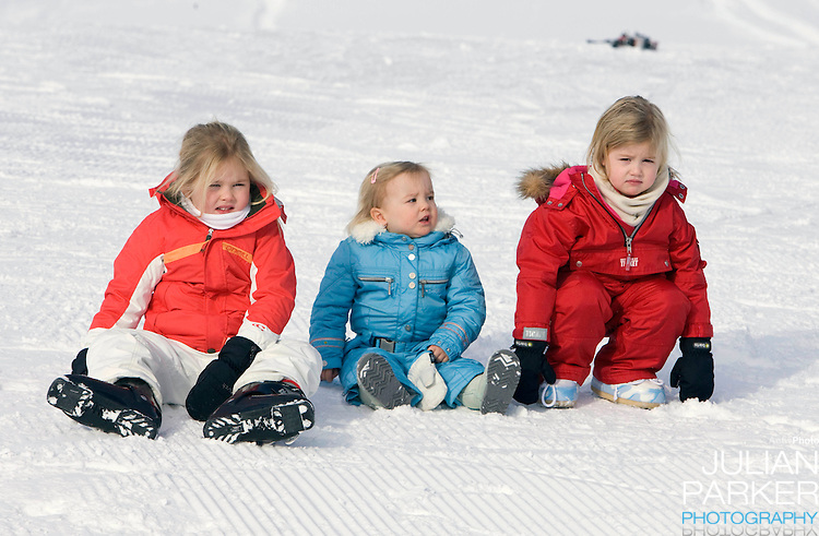 Crown Prince Willem Alexander, and Crown Princess Maxima of Holland with Daughters, Princess Alexia ( right ), Princess Catharina Amalia  ( left )and Princess Ariane ( centre ) attend a Photocall with Members of The Dutch Royal Family during their Winter Ski Holiday in Lech Austria