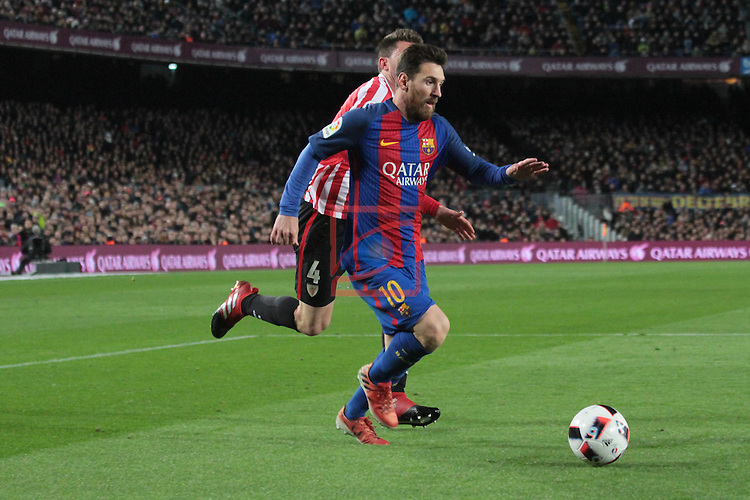 Copa del Rey 2016/2017 - 1/8 final vuelta.<br /> FC Barcelona vs Athletic Club: 3-1.<br /> Lionel Messi vs Laporte.