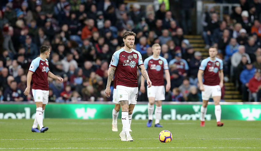 Burnley players look dejected after Everton's Yerry Mina scored the opening goal<br /> <br /> Photographer Rich Linley/CameraSport<br /> <br /> The Premier League - Burnley v Everton - Wednesday 26th December 2018 - Turf Moor - Burnley<br /> <br /> World Copyright © 2018 CameraSport. All rights reserved. 43 Linden Ave. Countesthorpe. Leicester. England. LE8 5PG - Tel: +44 (0) 116 277 4147 - admin@camerasport.com - www.camerasport.com