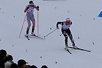 Petra Novakova and Debora Agreiter compete during the 5 Km Individual Free race of Tour de ski as part of the FIS Cross Country Ski World Cup  in Dobbiaco, Toblach, on January 8, 2016. American Jessica Diggins wins the race, ahead of Norway's Heidi Weng and third place for actual leader Ingvild Flugstad Oestberg from Norway. Credit: Pierre Teyssot