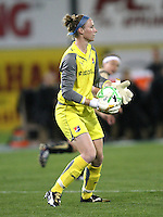 Sky Blue goalkeeper, Karen Bardsley (1) looks upfield after stifling another FC Gold Pride attack.  Sky Blue FC and FC Gold Pride battled to a 1-1 draw in Bridgewater, NJ on Saturday, April 11, 2009.