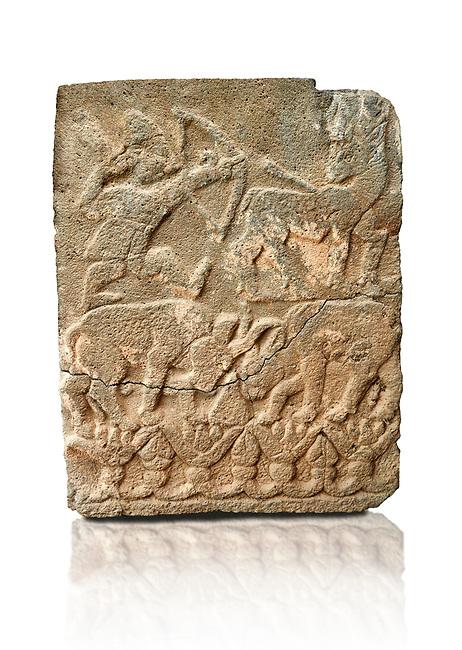 Pictures & images of the North Gate Hittite sculpture stele depicting Hittite hunting. 8th century BC. Karatepe Aslantas Open-Air Museum (Karatepe-Aslantaş Açık Hava Müzesi), Osmaniye Province, Turkey. Against white background