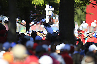 Jordan Spieth (Team USA) on the 13th tee during Sunday Singles matches at the Ryder Cup, Hazeltine National Golf Club, Chaska, Minnesota, USA. 02/10/2016<br /> Picture: Golffile   Fran Caffrey<br /> <br /> <br /> All photo usage must carry mandatory copyright credit (&copy; Golffile   Fran Caffrey)