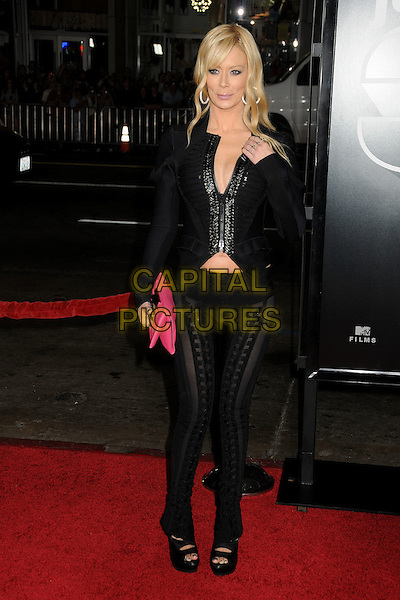"JENNA JAMESON .""Jackass 3D"" Los Angeles Premiere held at Grauman's Chinese Theatre, Hollywood, California, USA, .13th October 2010..full length black jacket hand long sleeve pink clutch bag shoes platform trousers .CAP/ADM/BP.©Byron Purvis/AdMedia/Capital Pictures."