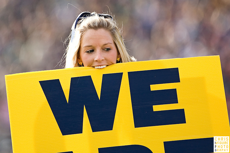 10/17/09 - South Bend, IN:  A Notre Dame cheerleader gets lifted during their game against USC at Notre Dame Stadium on Saturday.  USC won the game 34-27 to extend its win streak over Notre Dame to 8 games.  Photo by Christopher McGuire.
