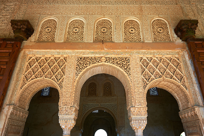 Moorish architecture of an inner courtyard  of the Palacios Nazaries,  Alhambra. Granada, Andalusia, Spain.