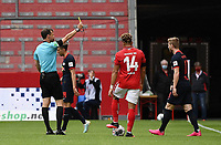 24th May 2020, Opel Arena, Mainz, Rhineland-Palatinate, Germany; Bundesliga football; Mainz 05 versus RB Leipzig; Referee Markus Schmidt (Stuttgart) , with  a yellow card for Timo Werner (RB Leipzig)