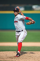 Pawtucket Red Sox pitcher Noe Ramirez (24) delivers a pitch during a game against the Rochester Red Wings on July 1, 2015 at Frontier Field in Rochester, New York.  Rochester defeated Pawtucket 8-4.  (Mike Janes/Four Seam Images)