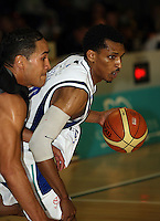 Saints import Mike Efevberha during the NBL match between the Wellington Saints and Christchurch Cougars at Te Rauparaha Stadium, Porirua, Wellington, New Zealand on Saturday 4 April 2009. Photo: Dave Lintott / lintottphoto.co.nz