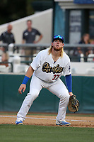 Garrett Hope (37) of the Rancho Cucamonga Quakes in the field during a game against the Modesto Nuts at LoanMart Field on August 1, 2017 in Rancho Cucamonga, California. Rancho Cucamonga defeated Modesto, 2-1. (Larry Goren/Four Seam Images)