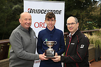 Tom McKibbin  winner of the junior Bridgestone Order of Merit pictured with Frank and Colm Conyngham Bridgestone Ireland at the presentations in the GUI National Academy, Maynooth, Kildare, Ireland. 30/11/2019.<br /> Picture Fran Caffrey / Golffile.ie<br /> <br /> All photo usage must carry mandatory copyright credit (© Golffile | Fran Caffrey)