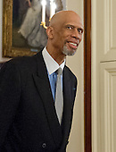 Former NBA star Kareem Abdul-Jabbar arrives to accept Presidential Medal of Freedom, the Nation's highest civilian honor, from United States President Barack Obama in the East Room of the White House in Washington, DC on November 22, 2016.<br /> Credit: Ron Sachs / CNP