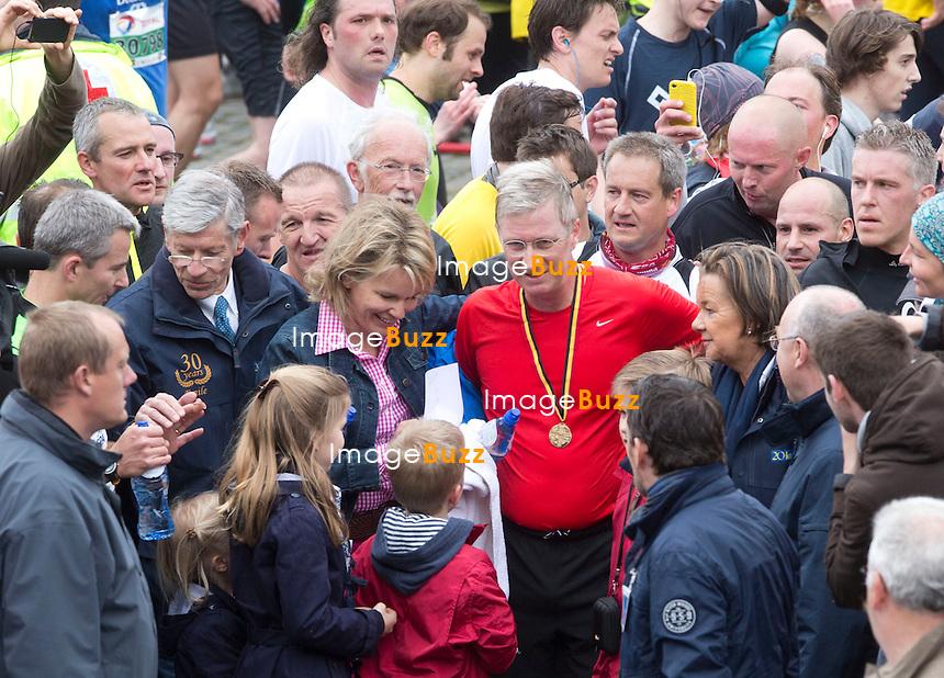Le Prince Philippe de Belgique participe aux 20 kilomètres de Bruxelles en 1h55.  Le prince était accompagné par la princesse Mathilde de Belgique et ses quatre enfants, la Princesse Élisabeth de Belgique.le Prince Gabriel de Belgique, le Prince Emmanuel de Belgique et la Princesse Éléonore de Belgique..Belgique, Bruxelles, 26 mai 2013..NE PAS DIFFUSER EN BELGIQUE!