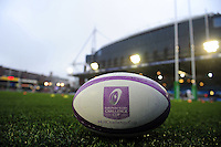A general view of a European Rugby Challenge Cup ball. European Rugby Challenge Cup match, between Cardiff Blues and Bath Rugby on December 10, 2016 at the Cardiff Arms Park in Cardiff, Wales. Photo by: Patrick Khachfe / Onside Images