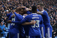 Craig Noone of Cardiff City team mates congratulate him as he celebrates scoring his sides third goal of the match during the Sky Bet Championship match between Cardiff City and Rotherham United at the Cardiff City Stadium, Wales, UK. 18 February 2017