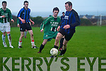 Fenit Samphires' Mairti?n Ferris rises above Inter Kenmare central defender Mark Granville to head his side's third goal in their Denny Division 1A clash in Fenit on Sunday.    Copyright Kerry's Eye 2008