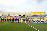 14 MAY 2011: USA and Japan players line up before the International Friendly soccer match between Japan WNT vs USA WNT at Crew Stadium in Columbus, Ohio.