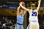GRAND RAPIDS, MI - MARCH 18: Lauren Dillon (11) of Tufts University looks for an open teammate over Hannah Hackley (20) of Amherst College during the Division III Women's Basketball Championship held at Van Noord Arena on March 18, 2017 in Grand Rapids, Michigan. Amherst defeated 52-29 for the national title. (Photo by Brady Kenniston/NCAA Photos via Getty Images)