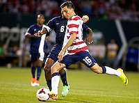 PORTLAND, Ore. - July 9, 2013: Jose Torres shoots in the second half. The US Men's National team plays the National team of Belize during the 2013 Gold Cup at at JELD-WEN Field.