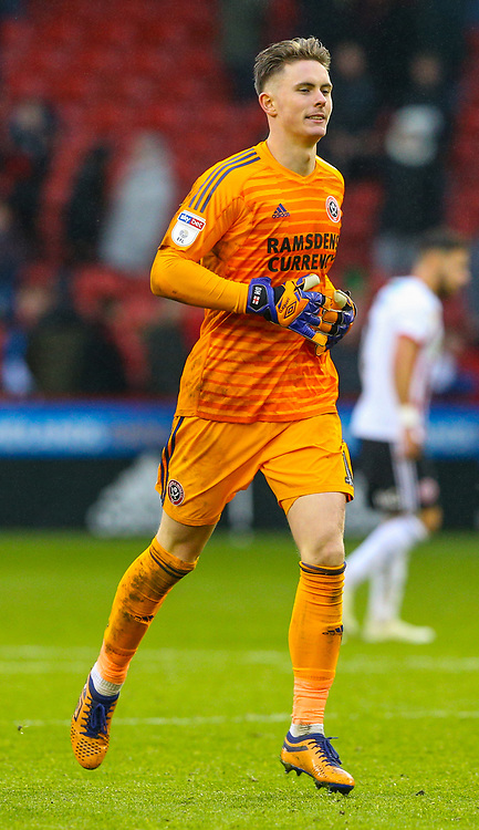 Sheffield United's Dean Henderson<br /> <br /> Photographer Alex Dodd/CameraSport<br /> <br /> The EFL Sky Bet Championship - Sheffield United v Leeds United - Saturday 1st December 2018 - Bramall Lane - Sheffield<br /> <br /> World Copyright © 2018 CameraSport. All rights reserved. 43 Linden Ave. Countesthorpe. Leicester. England. LE8 5PG - Tel: +44 (0) 116 277 4147 - admin@camerasport.com - www.camerasport.com