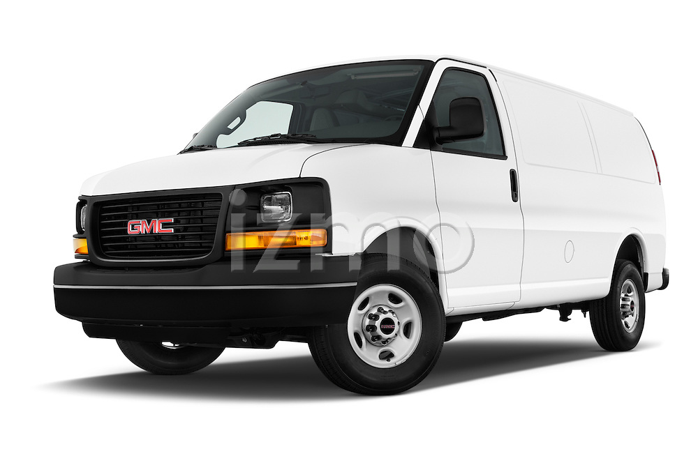 Stock pictures of low aggressive front three quarter view of 2016 GMC Savana-Cargo Work-Van-2500 4 Door Cargo Van Low Aggressive